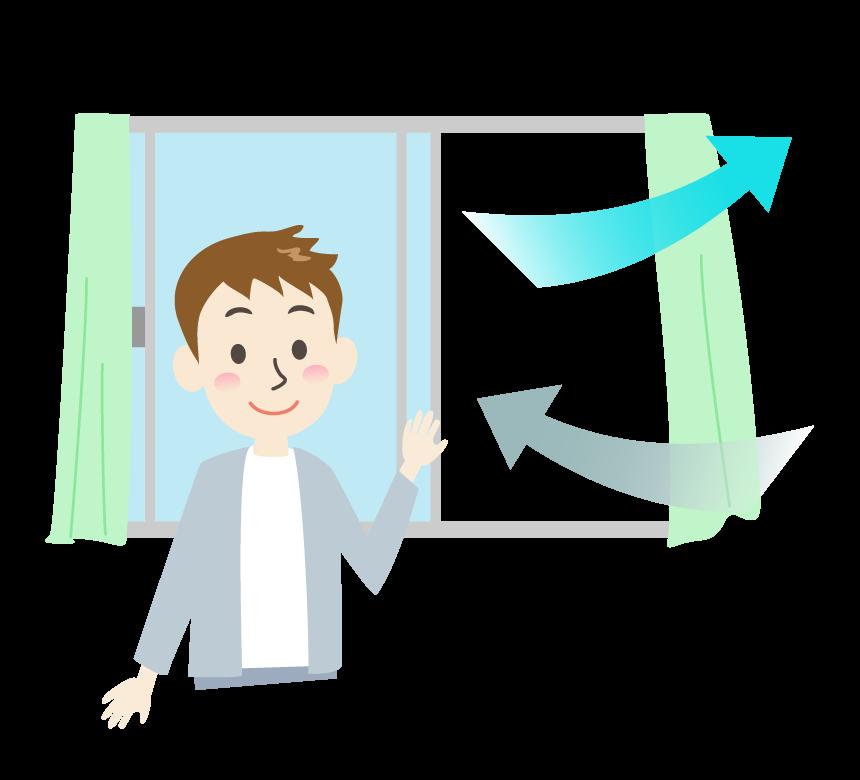 窓を開けて部屋の換気をしている男性のイラスト