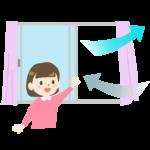 窓を開けて部屋の換気をしている女の子のイラスト