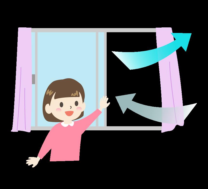 窓を開けて部屋の換気をしている女の子のイラスト フリー素材 イラストミント