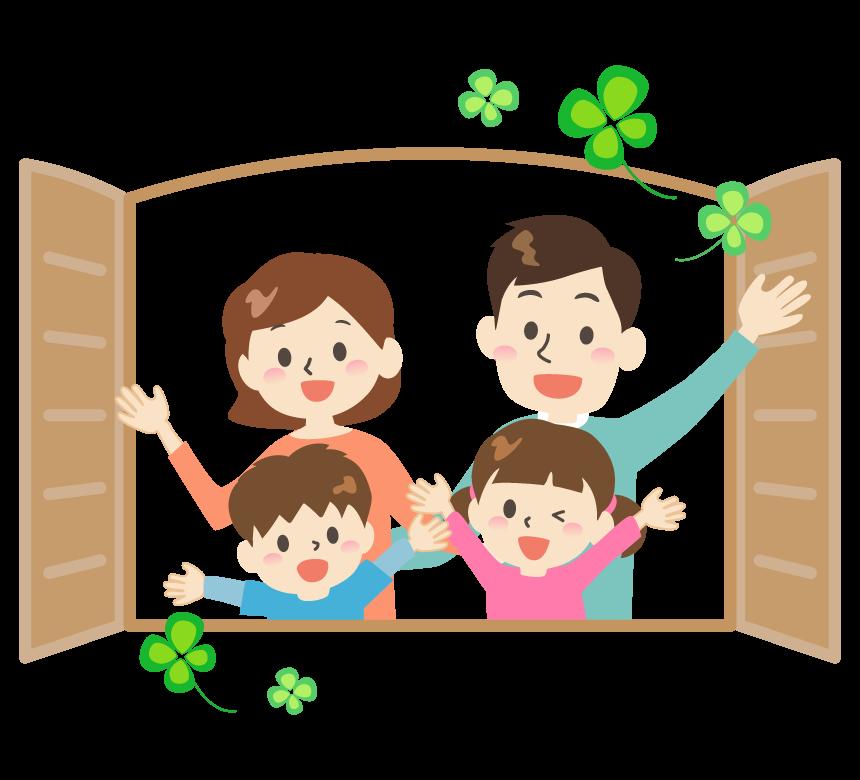 窓を開けて笑顔の仲良し家族のイラスト