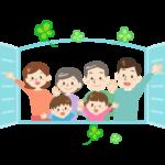 窓を開けて笑顔の仲良し3世代家族のイラスト