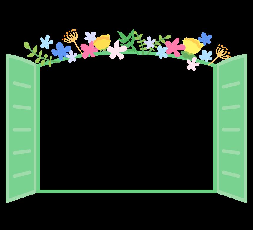 かわいい花を飾り付けたミントグリーンの窓のフレーム・枠イラスト