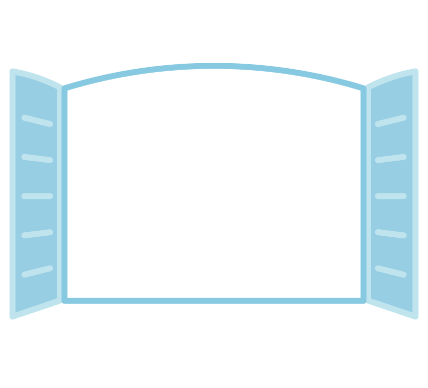 水色の窓のフレーム・枠イラスト