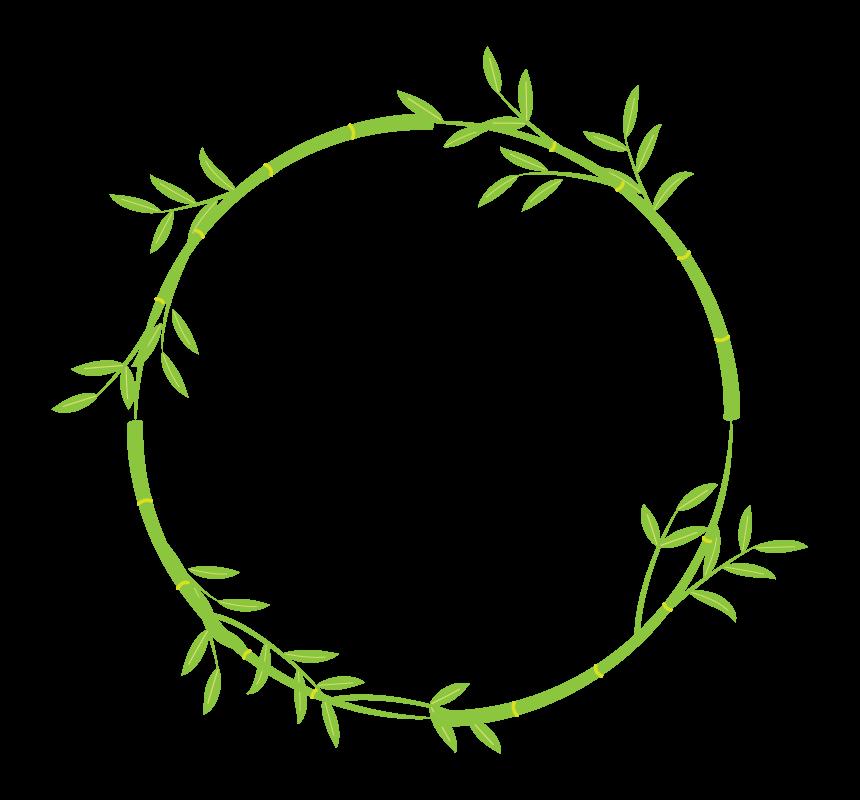 竹・笹の葉の和風円形フレーム・枠イラスト