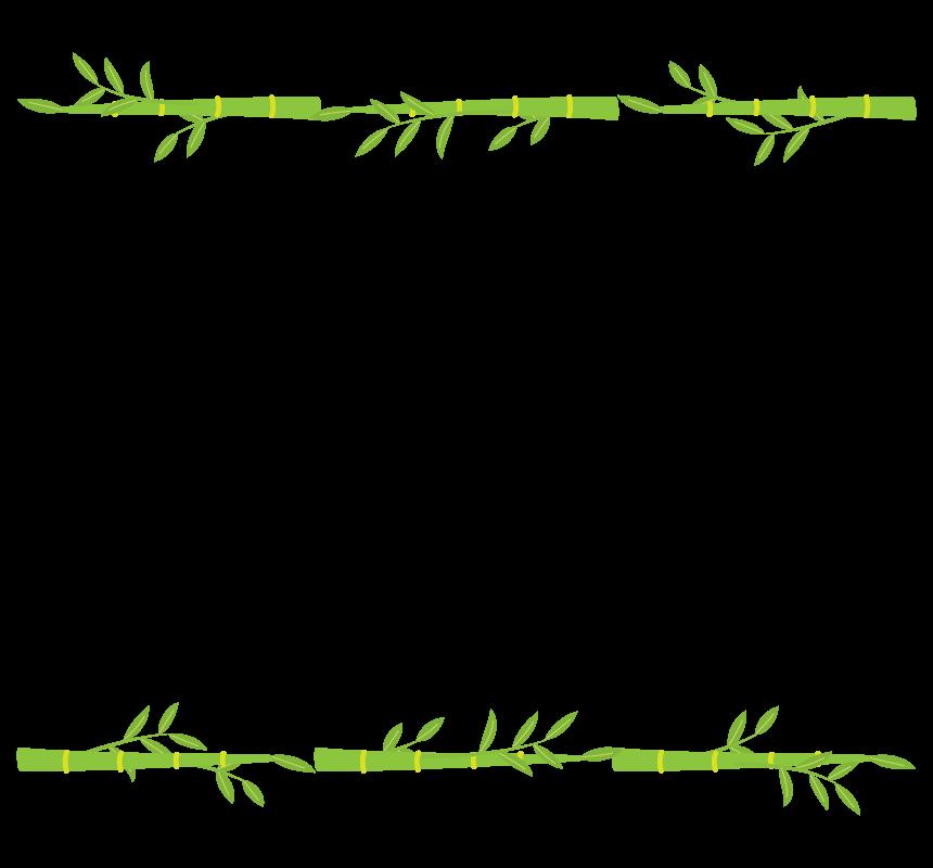 竹・笹の葉の上下和風フレーム・枠イラスト