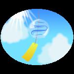 青空と風鈴の楕円イラスト