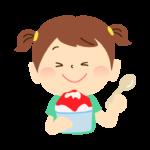 かき氷を食べる女の子のイラスト