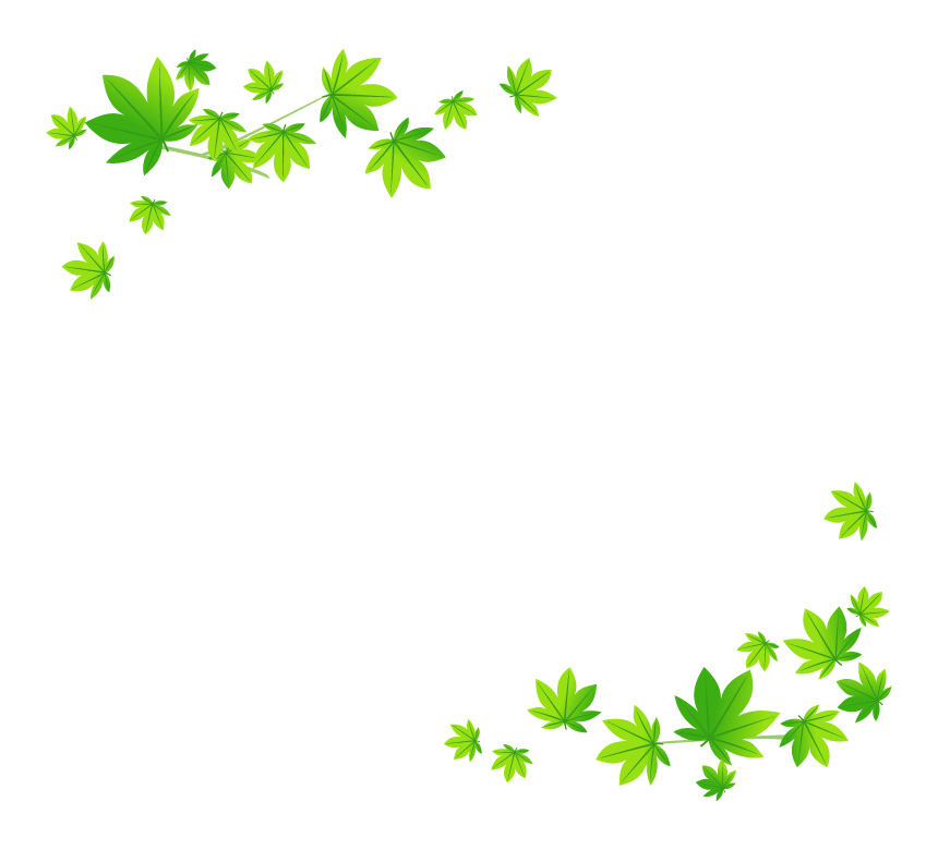 緑色のもみじのフレーム・枠イラスト
