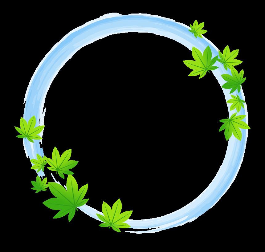 緑色のもみじと筆風の水色和風円形フレーム・枠イラスト