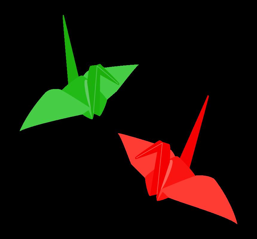 赤と緑の折り鶴のイラスト