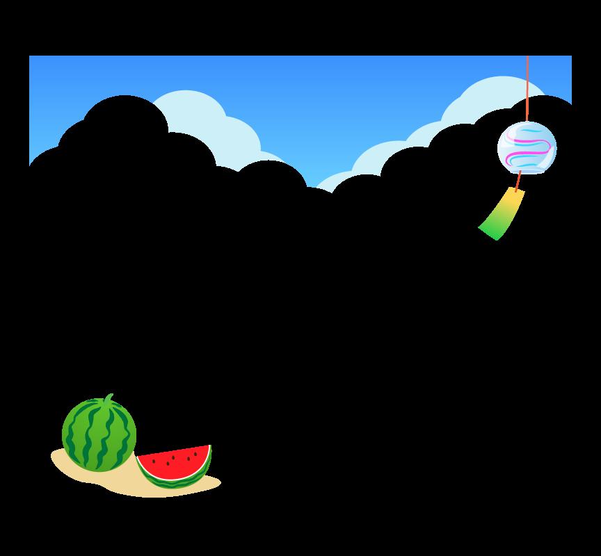 青空と風鈴とスイカのフレーム・枠イラスト