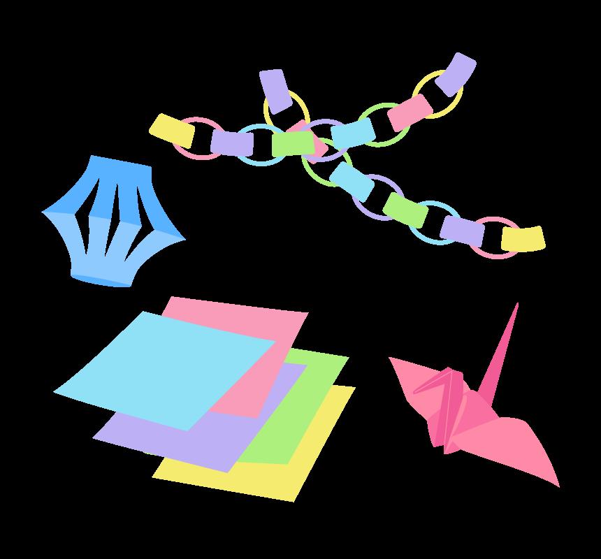 折り紙と七夕飾りのイラスト
