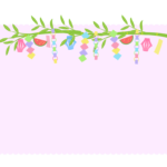 上部の七夕飾りのピンク色の四角フレーム・枠イラスト
