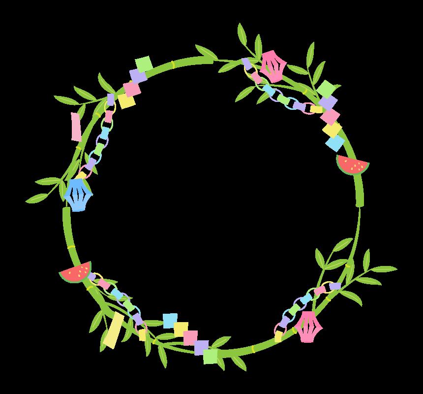 七夕飾りの円形フレーム・枠イラスト