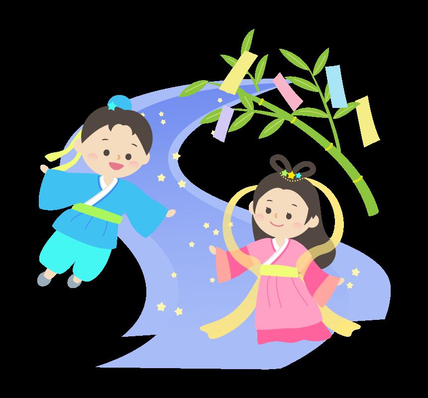 七夕・織姫さまと彦星さまと笹飾りのイラスト