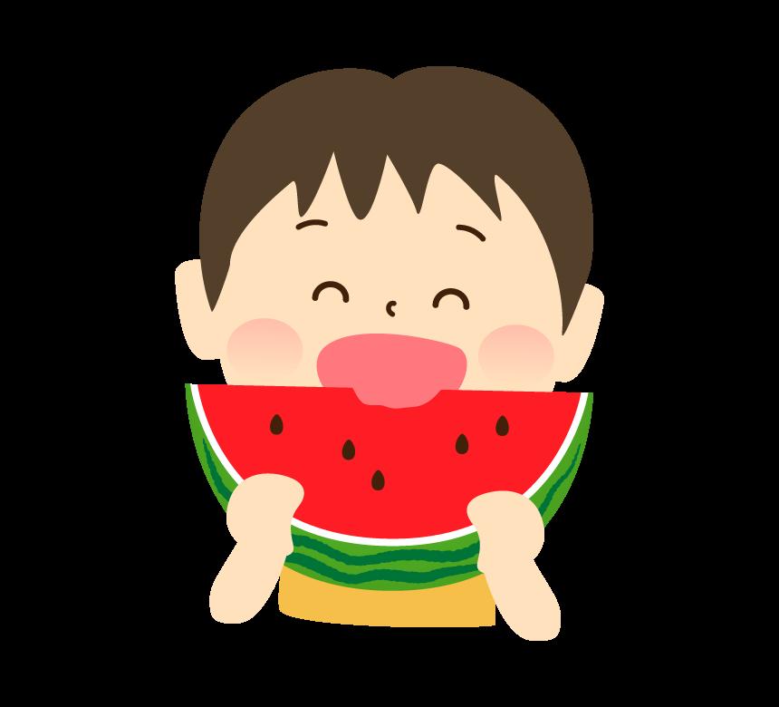 スイカを食べる男の子のイラスト