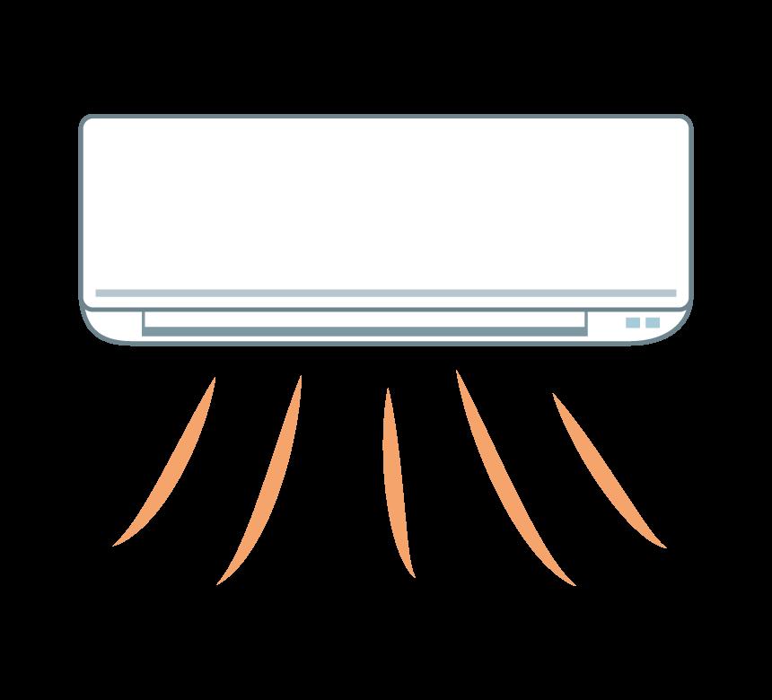 暖房運転で温風が出ているエアコンのイラスト