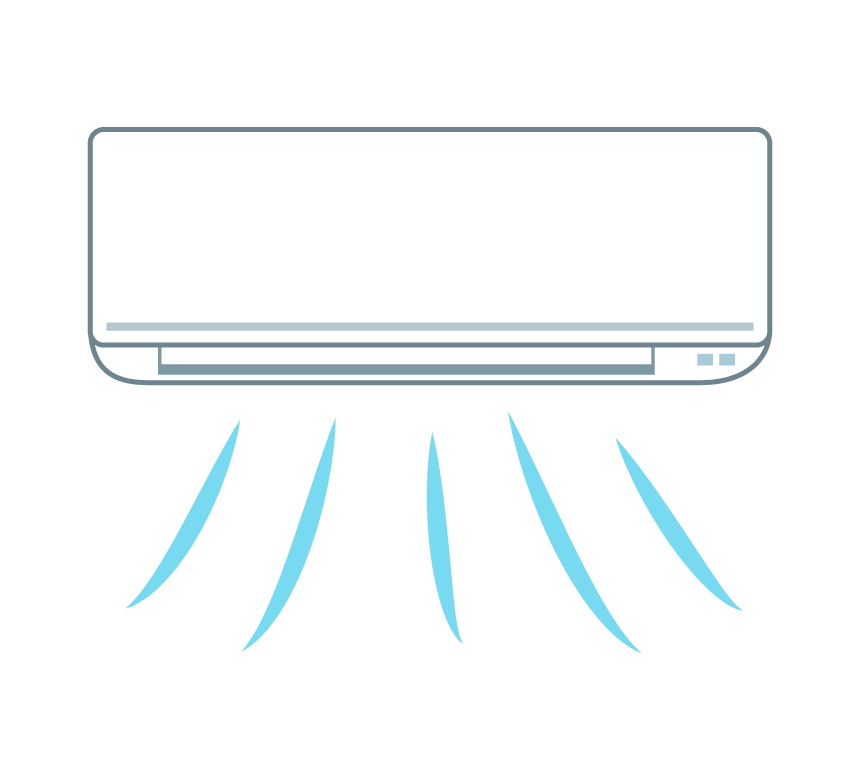 冷房運転で冷風が出ているエアコンのイラスト