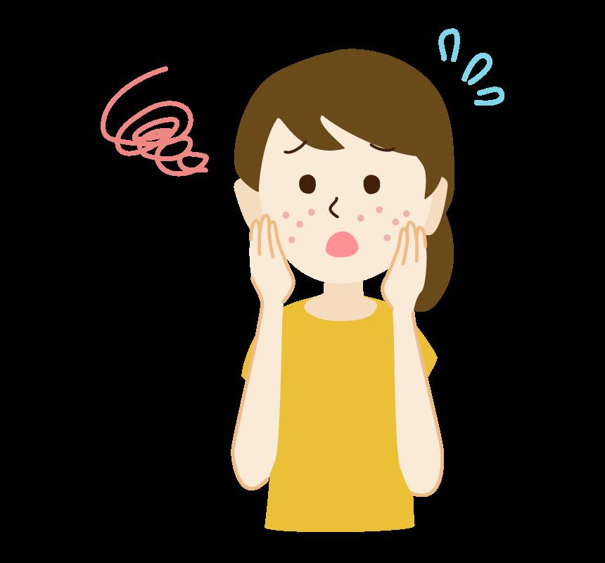 顔の肌荒れに悩む女性のイラスト