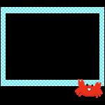 かわいいカニと青いチェック模様の四角いフレーム・枠イラスト