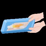 キャッシュトレイを持つ手と硬貨・紙幣のイラスト