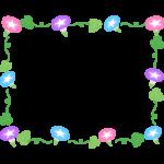 朝顔の花と葉っぱとつるの囲みフレーム・枠イラスト