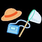 麦わら帽子と虫取りかごと虫取り網のイラスト