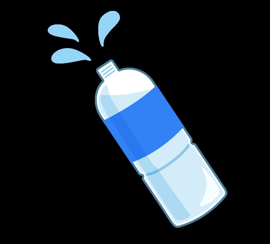 水やスポーツドリンクの入ったペットボトルのイラスト