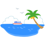 海とヤシの木と船のイラスト