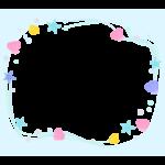 貝やヒトデのパステルカラーの囲みフレーム・枠イラスト