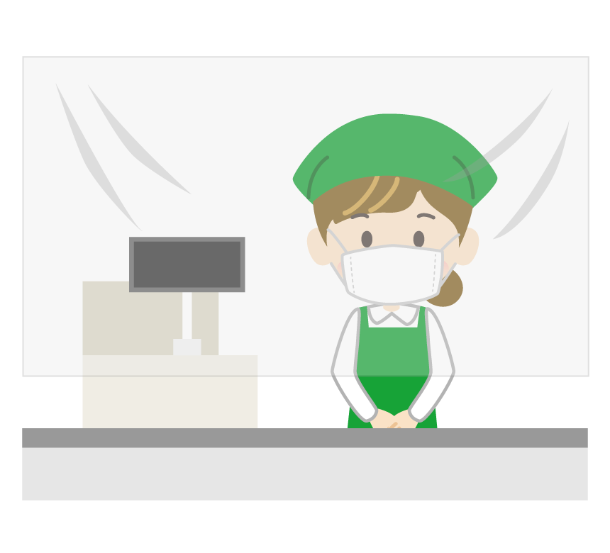 飛沫感染予防シートとスーパー・店員のイラスト