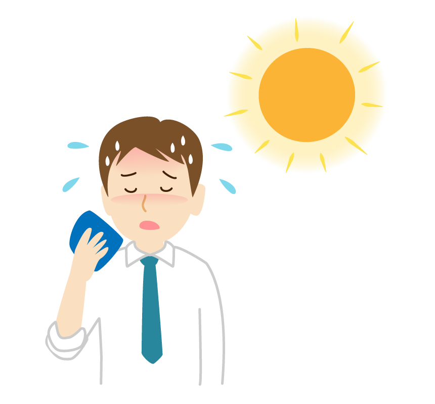 熱中症のサラリーマンのイラスト