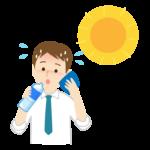 熱中症対策で水分補給をするサラリーマンのイラスト