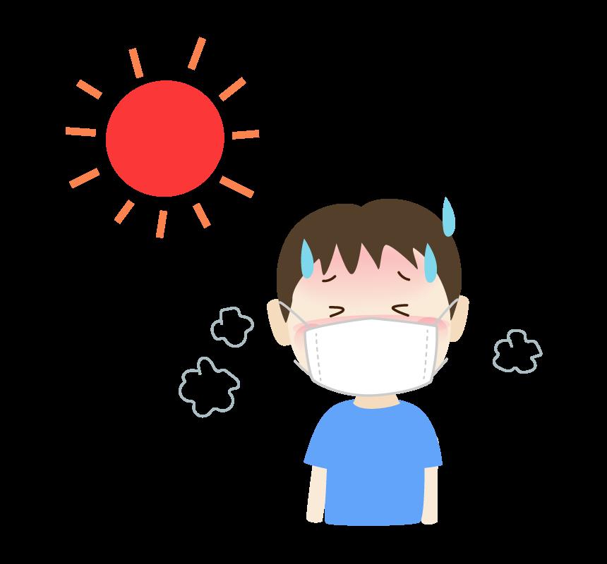 マスク熱中症の男の子のイラスト