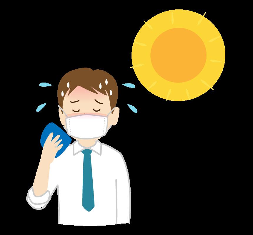 マスク熱中症のサラリーマンのイラスト