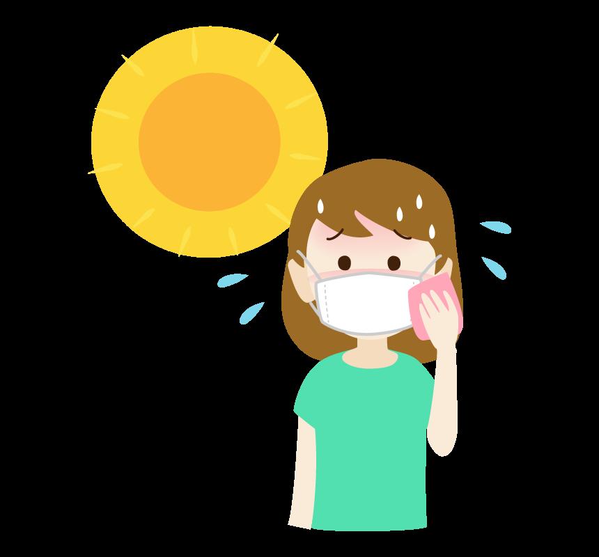 マスク熱中症の女性のイラスト
