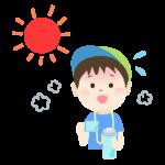 熱中症対策で水分補給をする男の子のイラスト