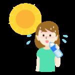 熱中症対策で水分補給をする女性のイラスト
