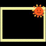 かわいい太陽の黄色チェック模様の四角フレーム・枠イラスト
