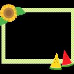 ひまわりとスイカの黄緑チェック模様の四角フレーム・枠イラスト
