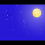 満月と夜空のフレーム・枠イラスト