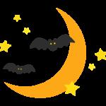 ハロウィン・三日月とコウモリのイラスト