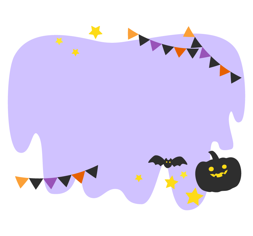 かぼちゃとフラッグガーランドの紫色フレーム・枠イラスト