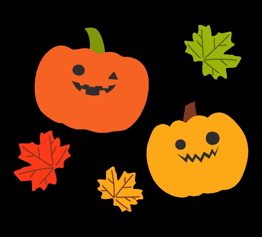 ハロウィン・2個のかぼちゃと紅葉のイラスト