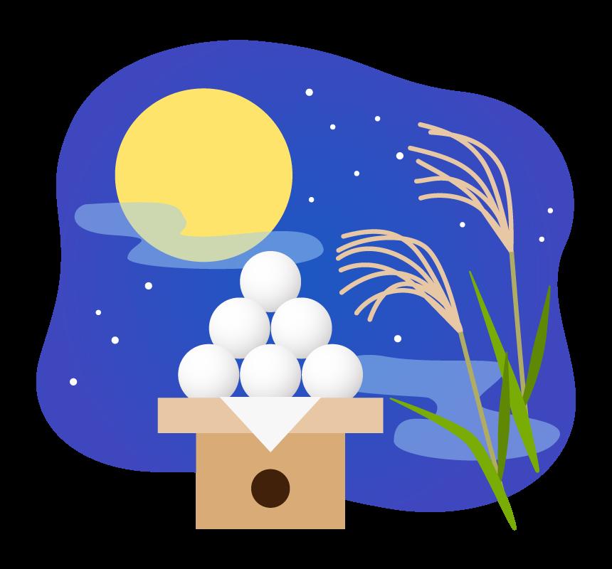 十五夜・満月と月見団子のイラスト