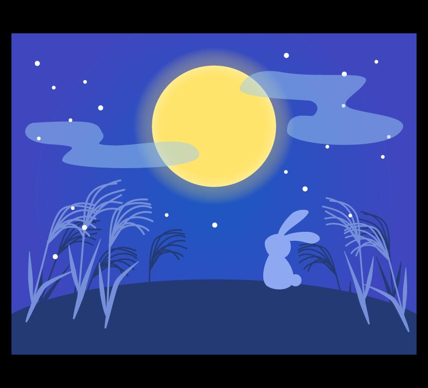 十五夜・お月見をするうさぎのイラスト
