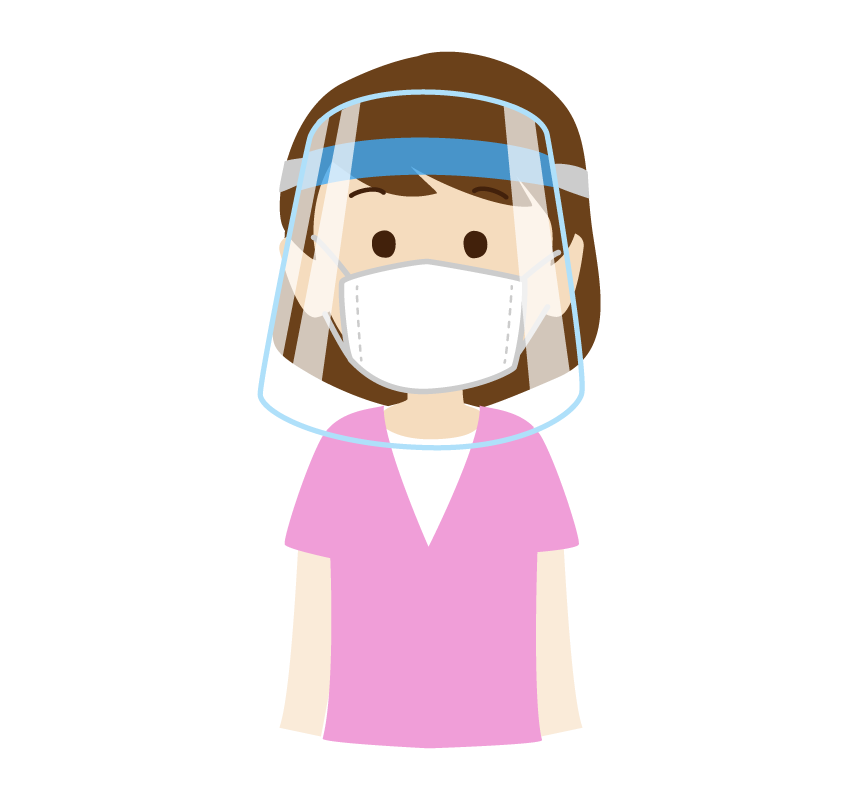 フェイスシールドとマスクを付けた女性のイラスト