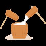 餅つき・杵と臼のイラスト