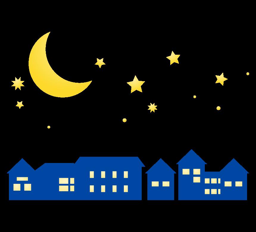 三日月と夜の街のイラスト