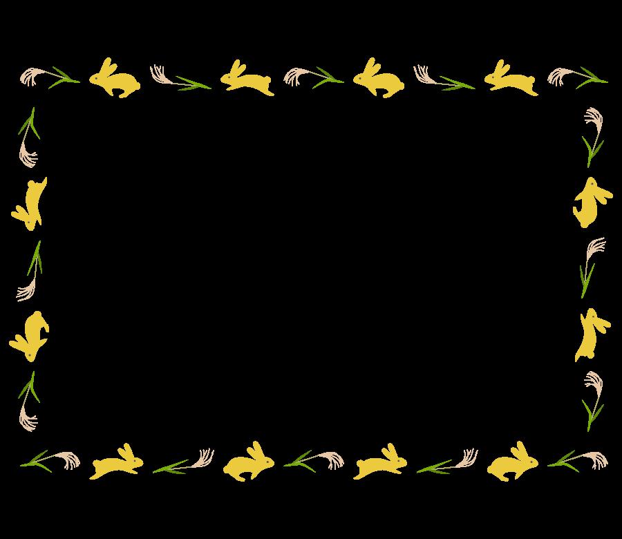 うさぎとススキの囲みフレーム・枠イラスト